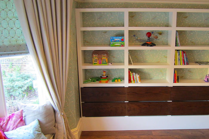 Retro shelf unit with dark oak detailing by treefrog carpentry for Tree shelving unit